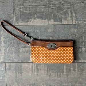 Fossil Orange Cream Dots Key-Per Leather Wristlet